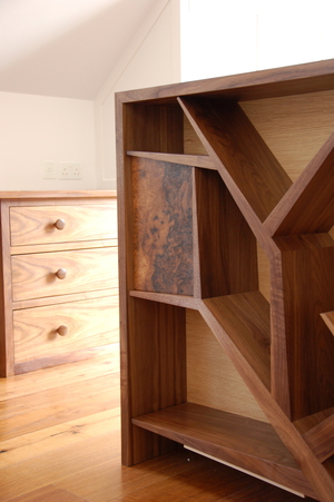 Bespoke joinery bed head with storage