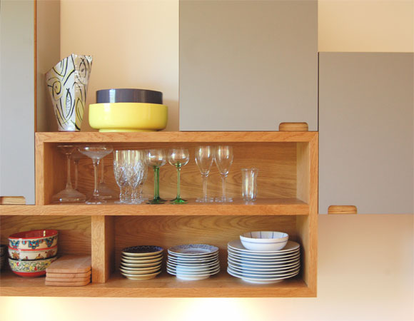Wood crafted kitchen shelving display unit