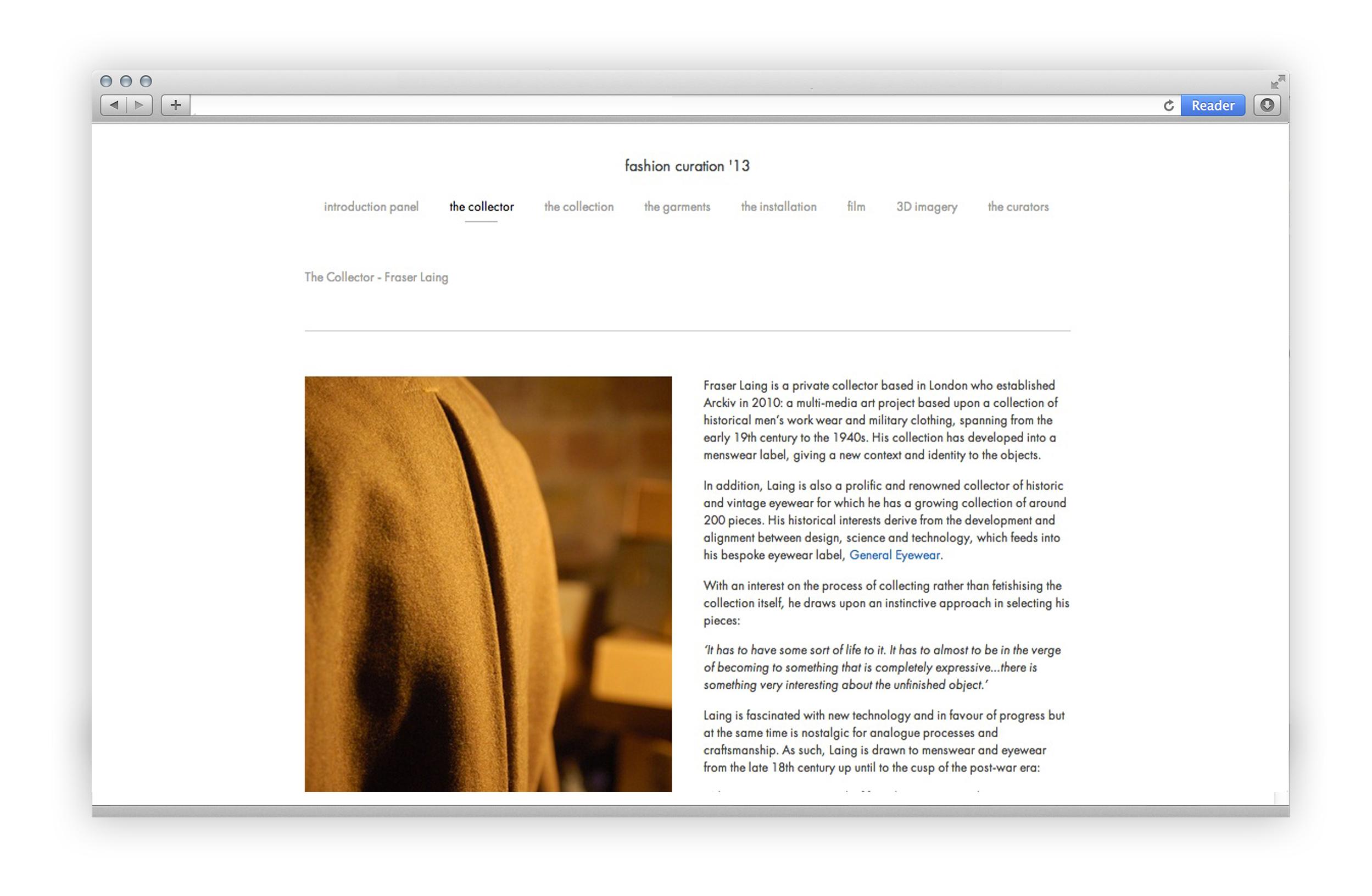 FASHION CURATION '13 - Website