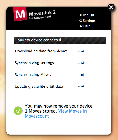 The Moveslink app on Mac – that's about it, it connects and syncs. As long as you're online.