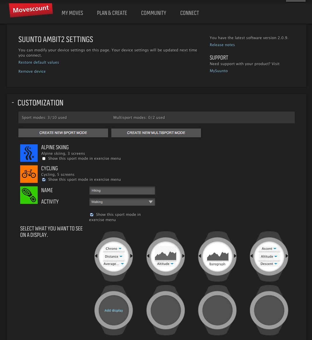 Movescount's settings screen.