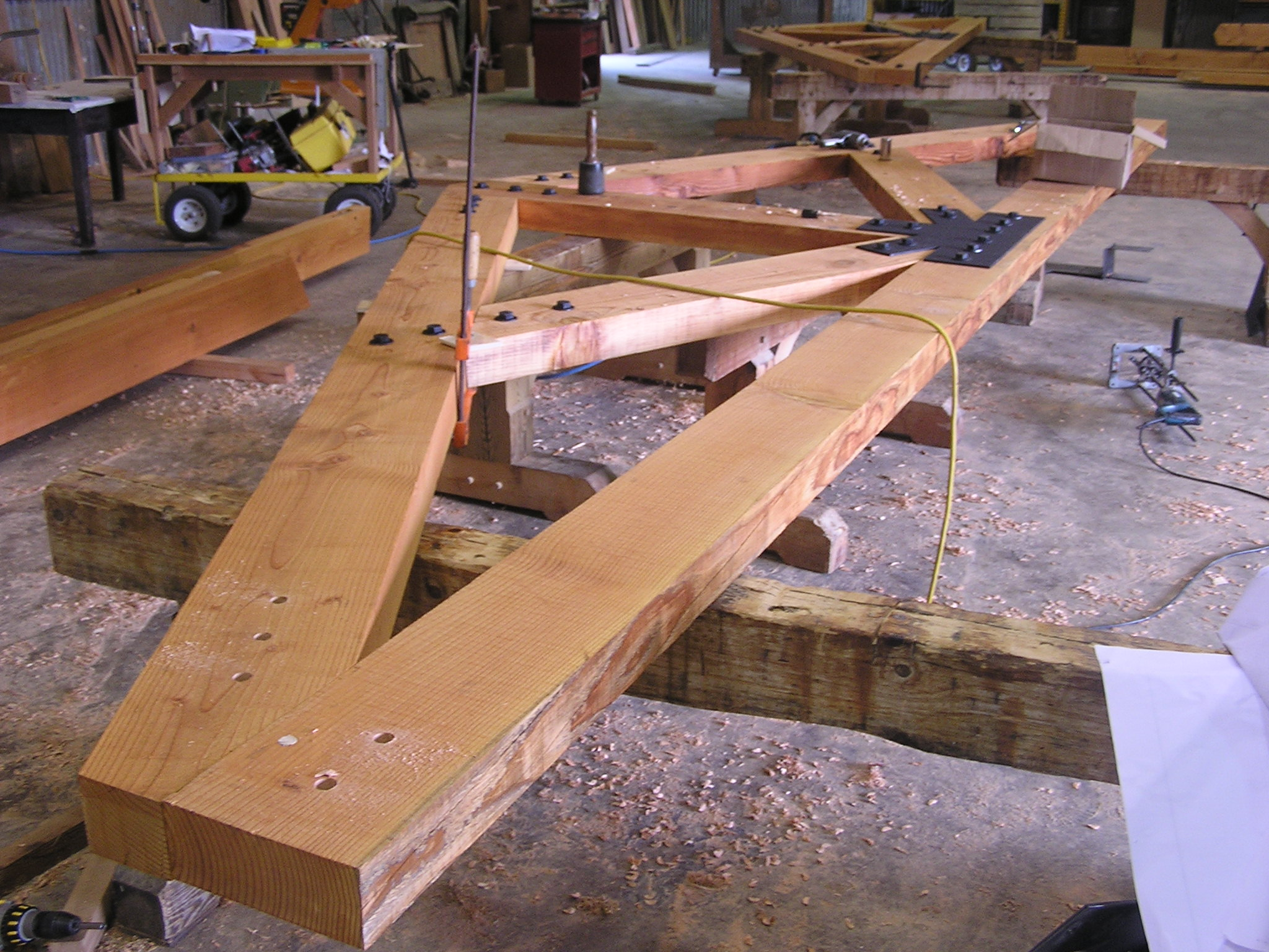 Bolted truss awaiting shipment to
