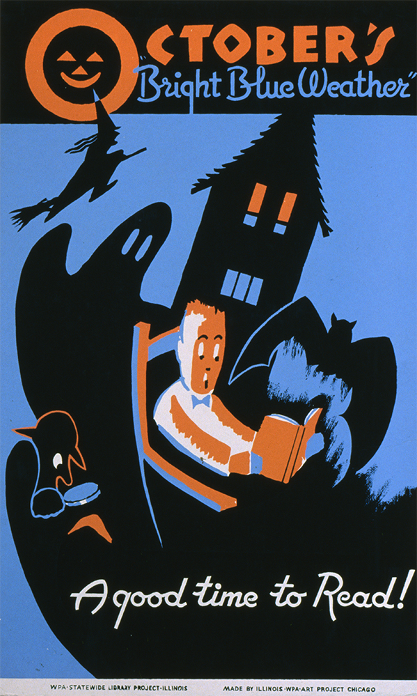 Poster for the Illinois WPA Art Project, showing a boy reading a book, surrounded by a bat, ghost, witch, and other images of Halloween. Published between 1936 and 1940.