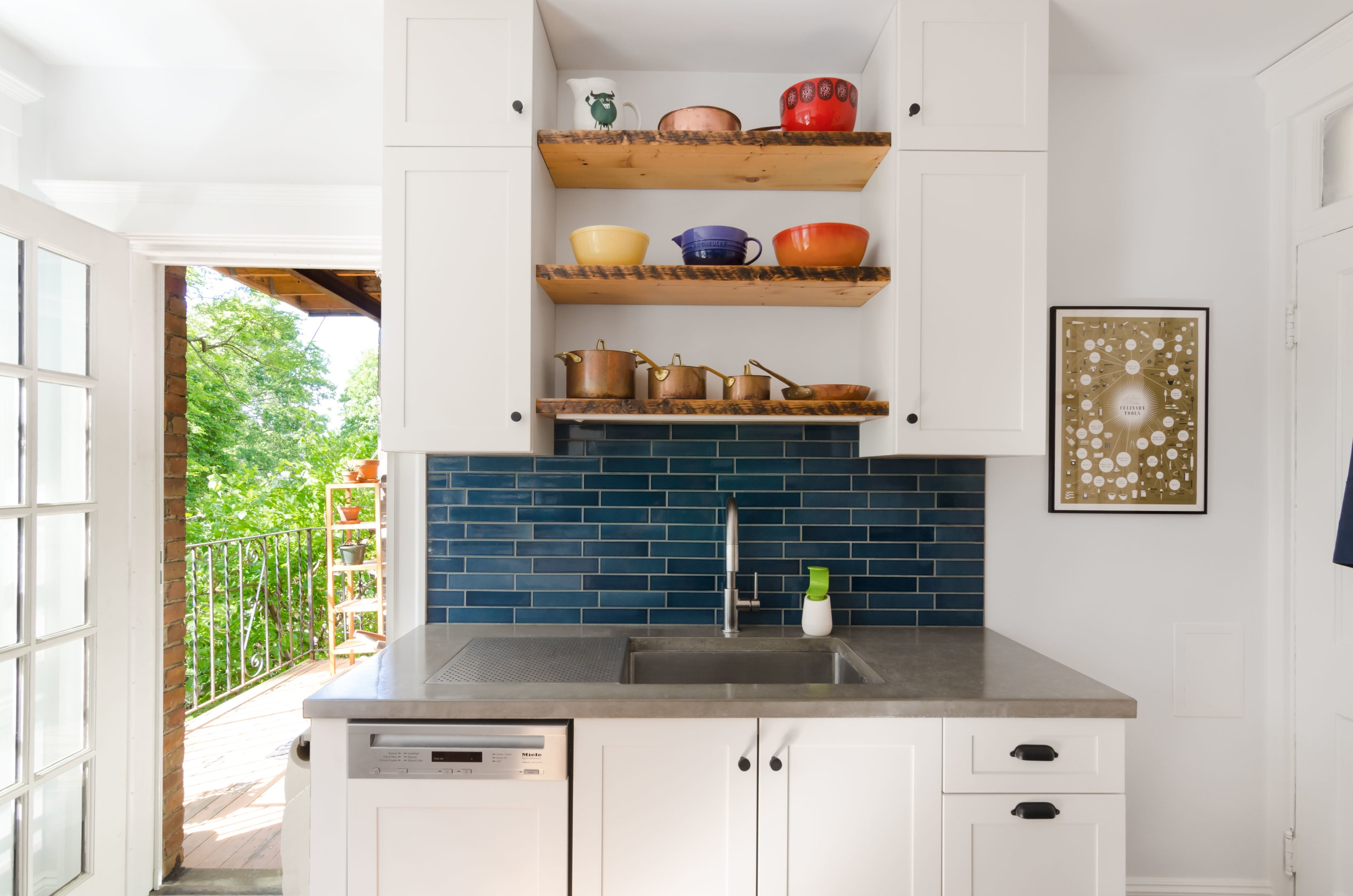 "Jamaica Plain, MA -- ""Warm Blue"" Kitchen. This gut renovation was a collaboration between the homeowners and Bailey•Davol•Studio•Build. Kitchen and pantry features included cabinets, tile backsplash, concrete counters, lighting, plumbing and flooring."