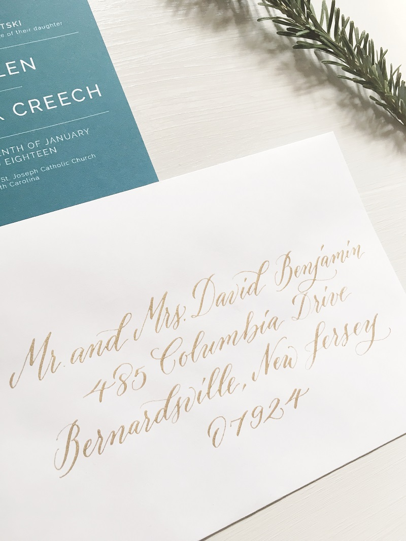 gold wedding calligraphy, wedding invitation calligraphy, columbia, south carolina, charleston, greenville.jpg