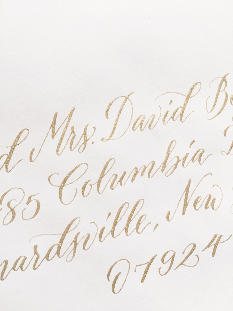 gold wedding calligraphy, wedding invitation calligraphy, columbia, south carolina, columbia, sc.jpg