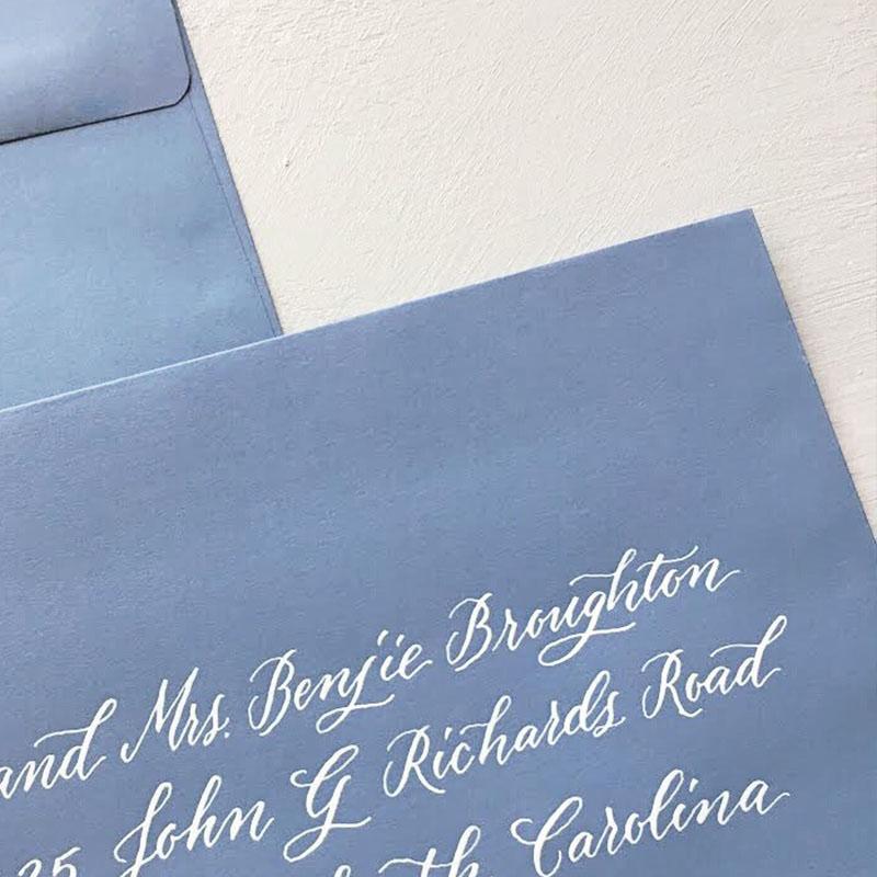 wedding invitation envelope calligraphy, addressing envelopes, wedding calligraphy, columbia, sc, lexington, sc.JPG
