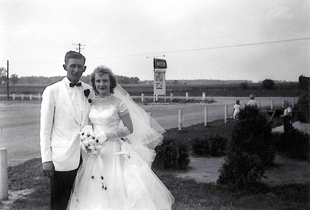 Bill and Joyce (Woydziak) Luthman, my grandparents, on their wedding day, August 11th, 1956.
