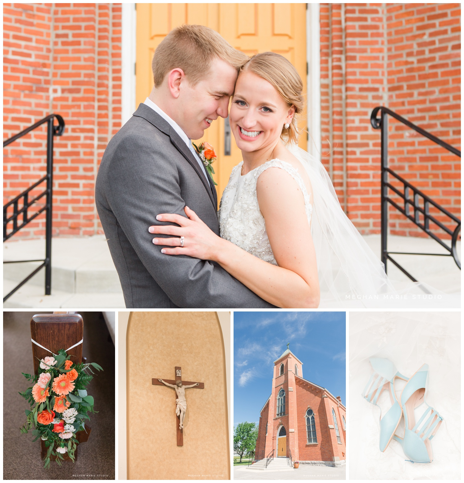 meghan marie studio ohio Stained Glass Church Windows, Cornflower Blue Decor, Peach Roses, & Puppy Wedding Kisses wedding photographer dayton catholic rustic yellows oranges_0411.jpg