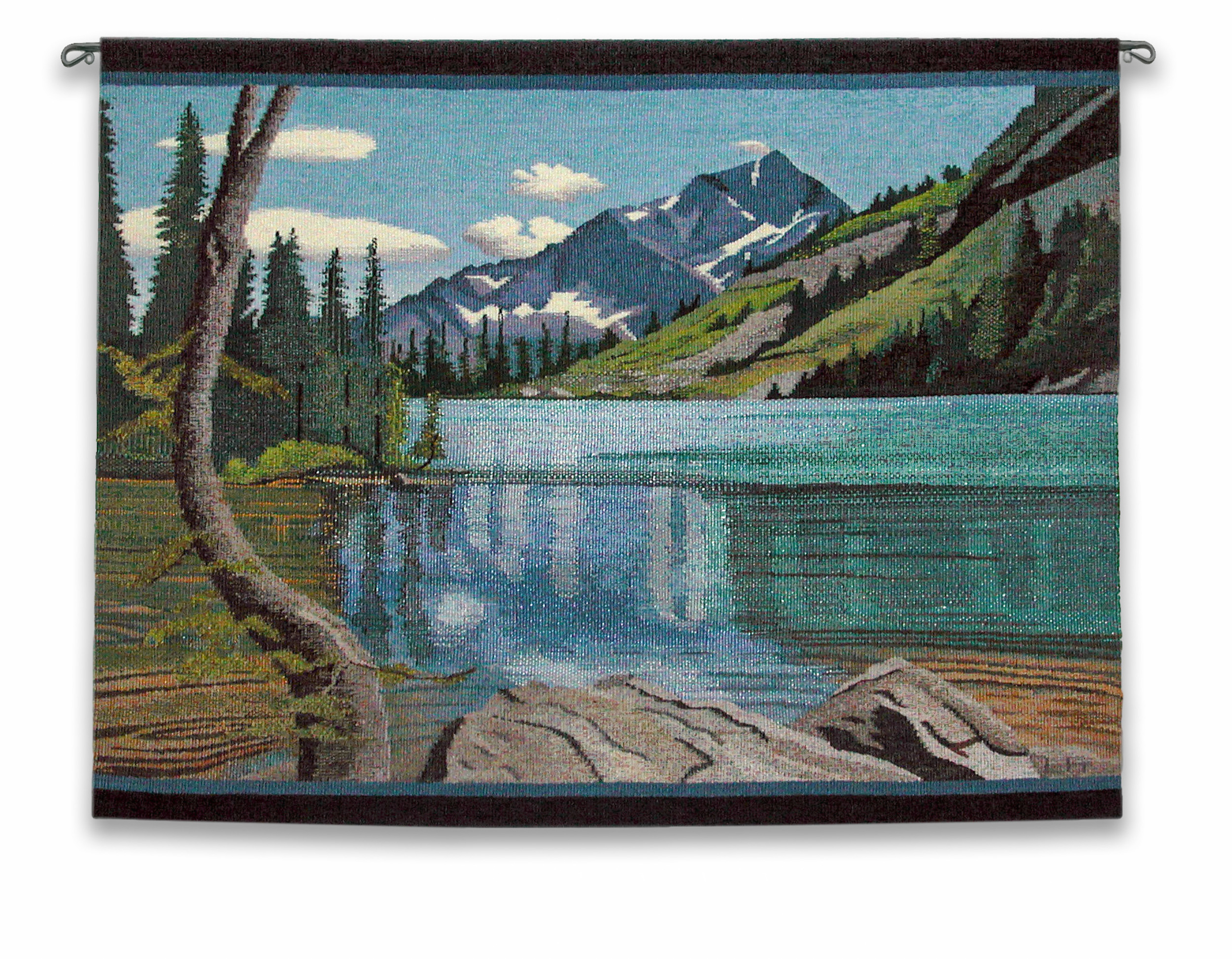 """This was very challenging and ultimately rewarding to weave .The title is Lake Chelan, 38"""" X 29.5"""""""