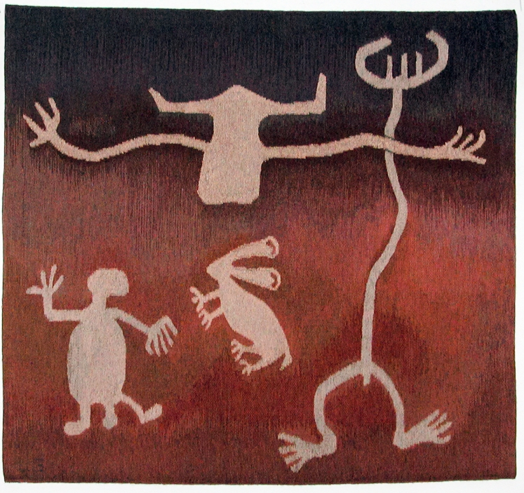 """Legend Rock Quartet, 38.5"""" X 41.5"""" These designs are petroglyphs of the Dinwoodie era in Wyoming, some of hundreds etched into cliffs."""