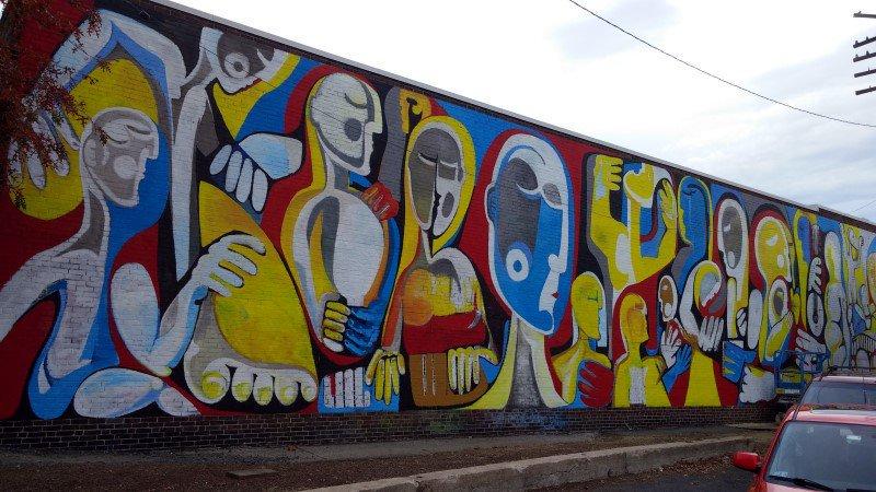 Mural near the  D  eluxe Depot Diner Parking Lot