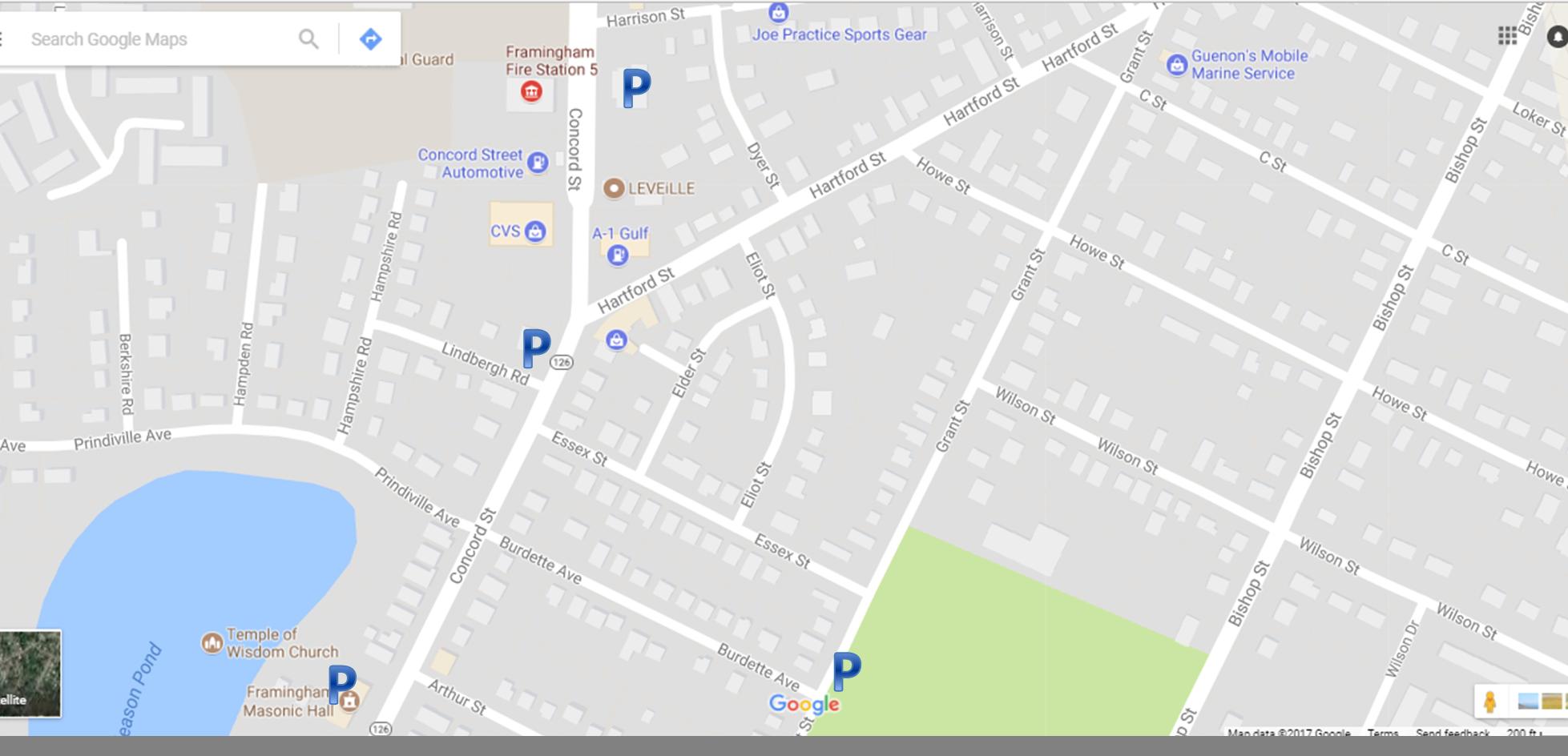 Parking - - On-street - Masonic Hall                (404 Concord Street)- George's Service Station      (472 Concord Street)- Braces Place               (509 Concord Street)- Corner Cabinet              (541 Concord Street)