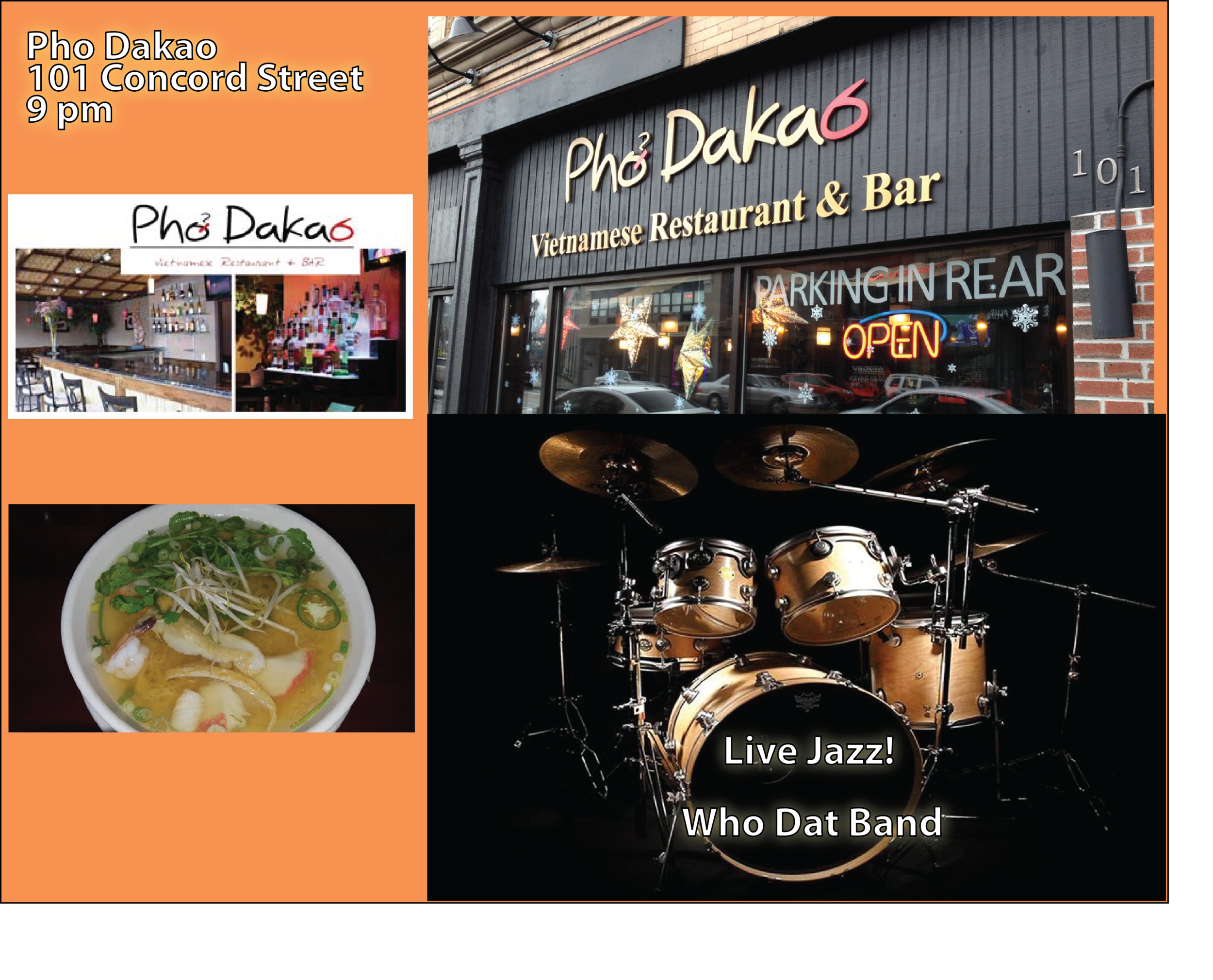 Pho Dakao - 101 Concord StreetDiscount:  15% off your meal (dine-in only & restaurant week must be mentioned to server)Parking Directions                            Heading South on Rt 126: Right on Park Street, Left on Franklin Street, Left into Howard/Concord Streets Lot Heading North on Rt 126: Right on Howard Street, Left into Howard/Concord Streets Lot