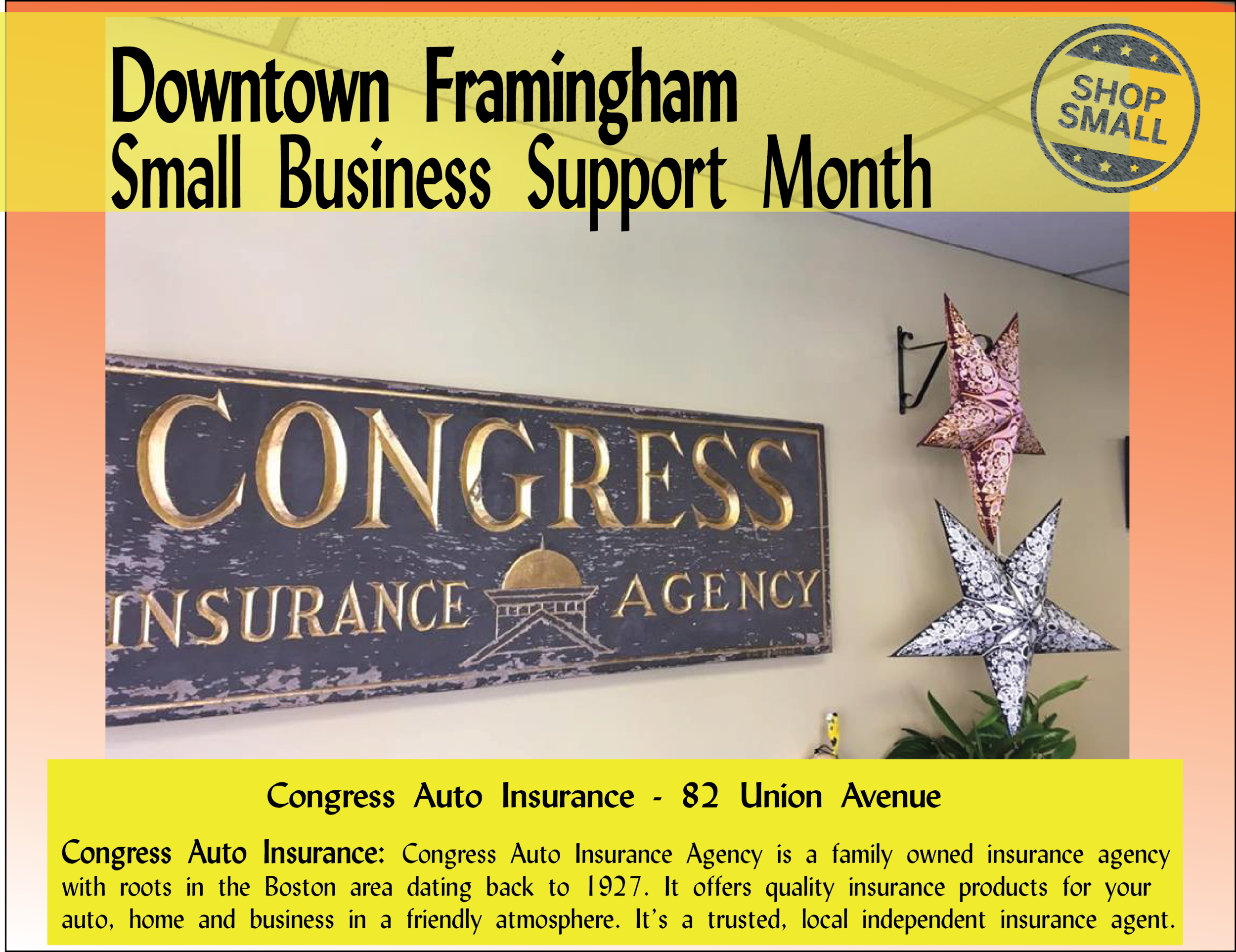 """It's Day 6 of Small Business Support Month: Reason #6:  """"It helps keep communities diverse. By supporting small businesses, we're making sure independent businesses thrive by adding to the cultural vibrancy and uniqueness of a community."""" Speaking of thriving, Congress Auto Insurance Agency has been thriving downtown since 1927! Stop in and ask Laurie the secret to this long-lasting success."""