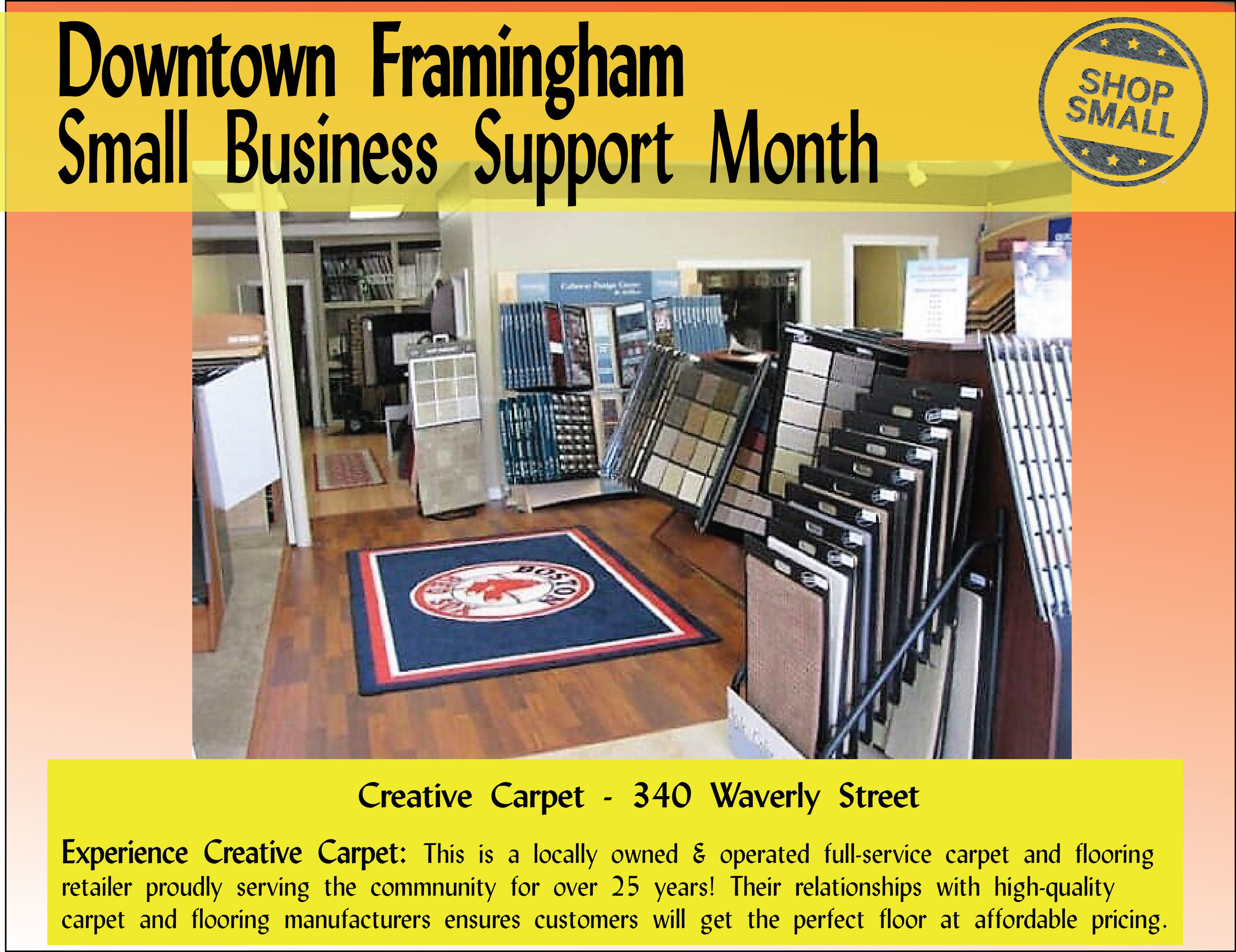 """It's Day 7 of Small Business Support Month!  Reason #7 to shop small: """"Local businesses make more local purchases requiring less transportation and usually set up shop in town centers rather than on the fringe. This generally means contributing less to sprawl, congestion, habitat loss, resource depletion and pollution.""""  Today we're spot-lighting  Creative Carpet , voted the best regional carpet store through  Wicked Local Favorites ! Check them out today!"""