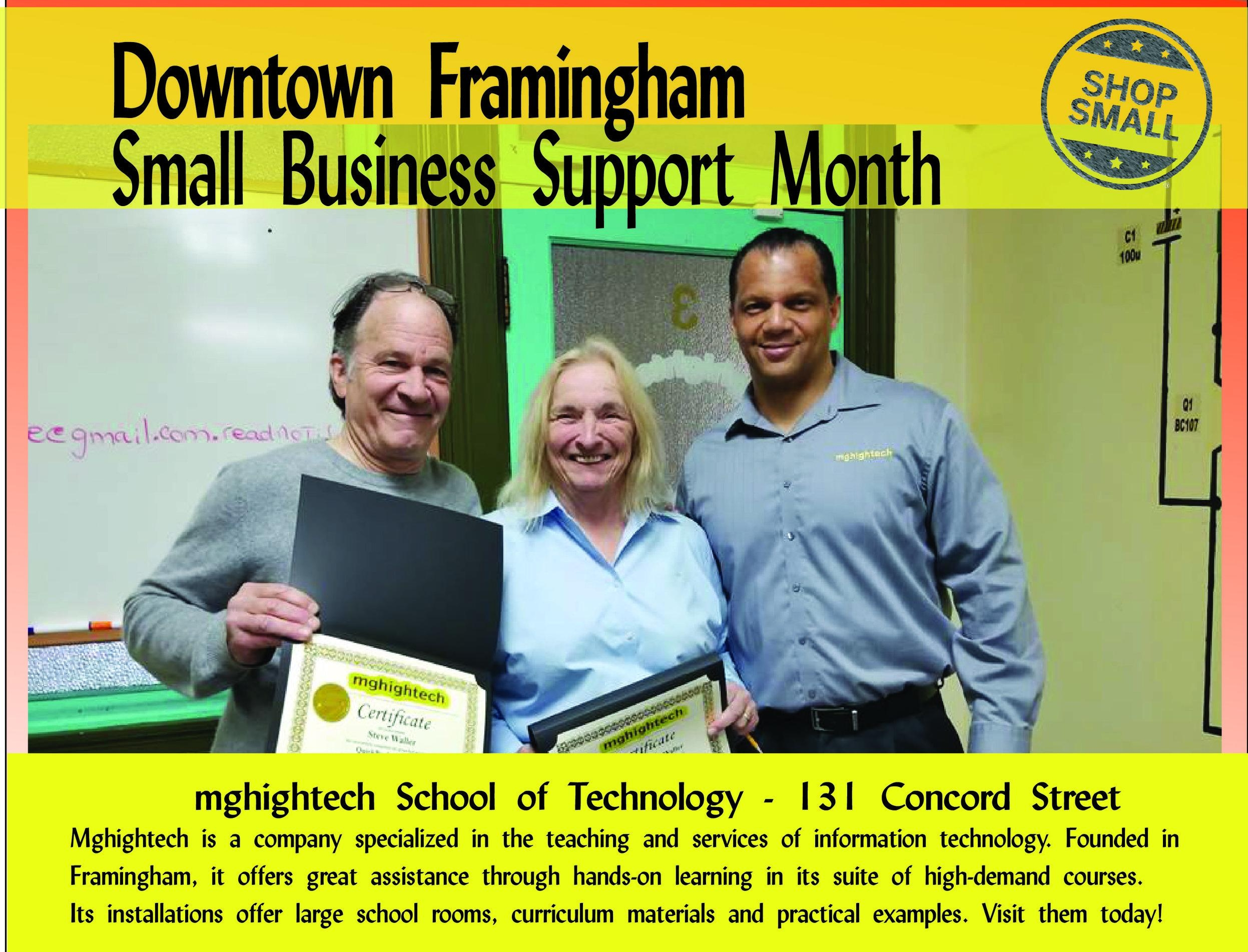 """Small Business Support Month is a hit! Reason #9 to shop small:  """"Get real value for yourself! Reader surveys by the Consumers Union repeatedly show independent businesses beating their chain competitors in overall customer satisfaction (and often save you money).""""  Speaking of satisfaction,  Mghightech School of Technology  was founded in Framingham to help residents hone hotly demanded skills to land the next big job or promotion. Check them out today!  Content Source:  https://www.amiba.net/resources/localhero/"""