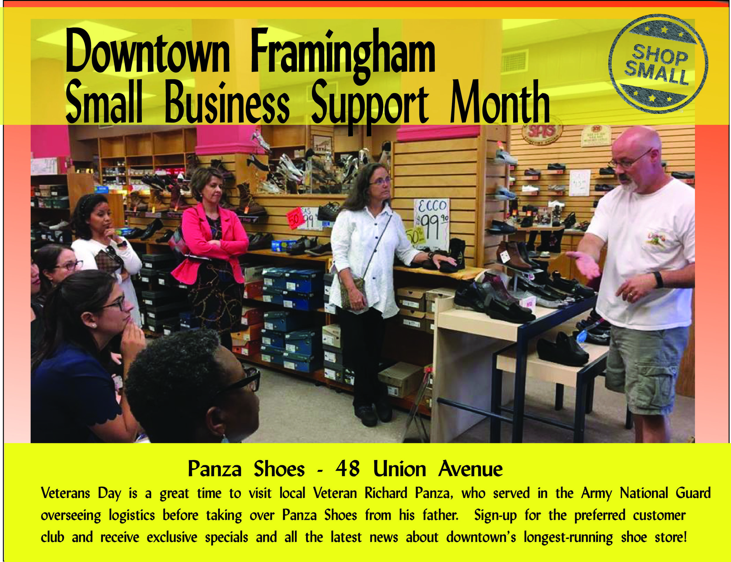 Reason #11 to support small businesses: on Veterans Day, support small businesses run by Veterans!   Today's promo is for  Panza Shoe . Richard Panza is an Army National Guard Veteran who worked diligently to take care of his fellow soldiers just as he has taken care of your shoe needs for over 50 years! Stop by today!