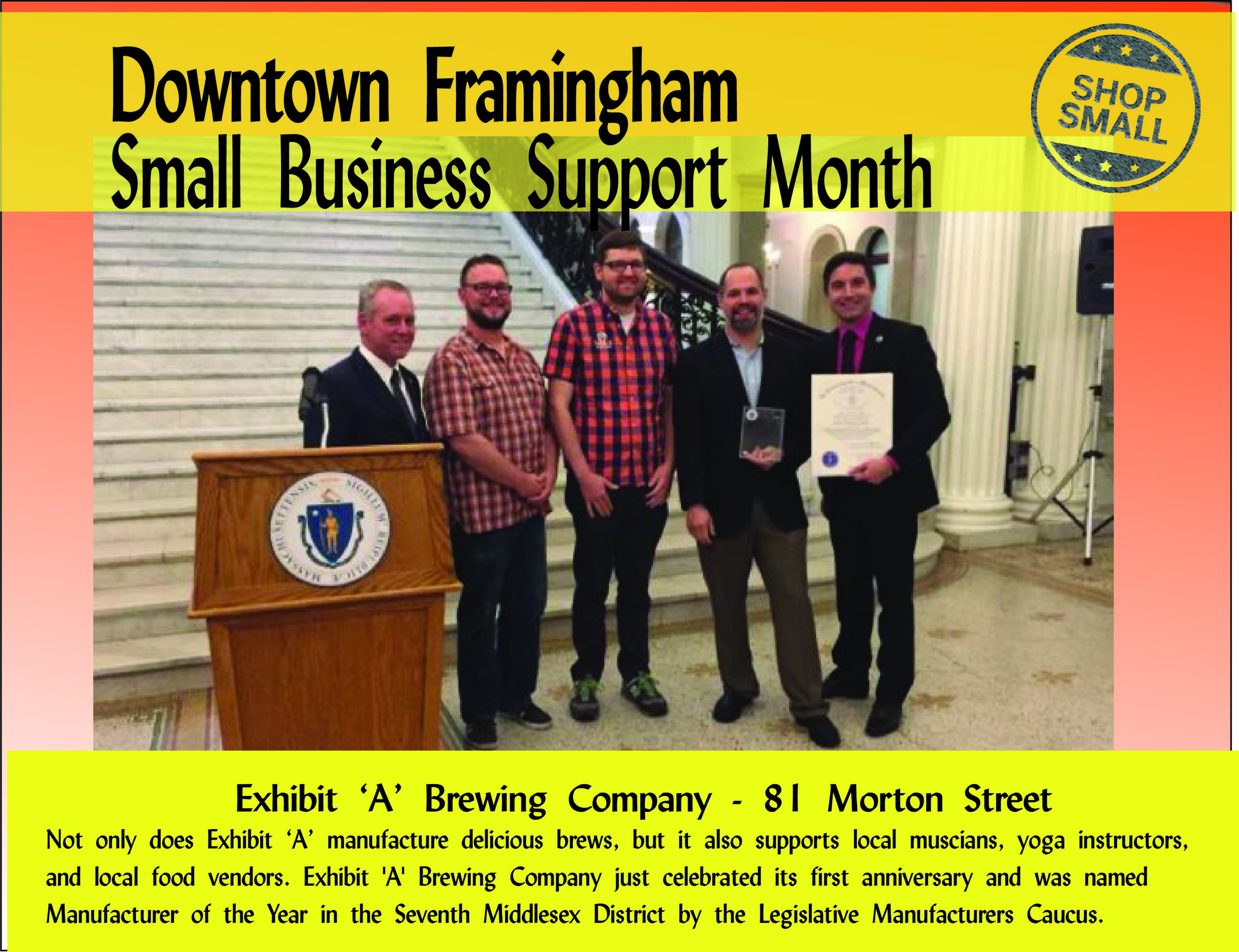 It's Day 13 of Small Business Support Month! Reason #13 to shop small : enhance the health of local residents! Research shows a strong correlation between the percentage of small locally-owned firms and various indicators of personal and community health and vitality.  Today's promo is  Exhibit 'A' Brewing Company ! Check out this award-winning business that supports other local entrepreneurs, including musicians, yoga instructors, and food truck operators!  Content Source:  https://www.amiba.net/resources/localhero/