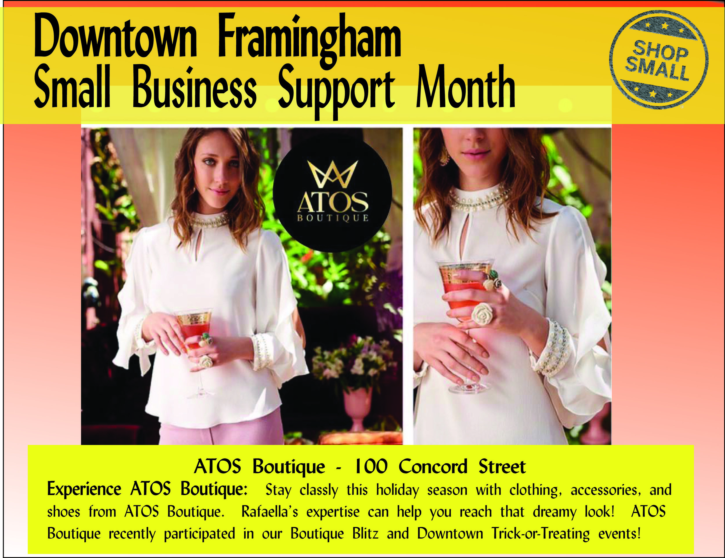 """The Small Business Support Month continues! Reason #15 to shop small:  """"Local stores develop customer trust and enable you to try on and try out items before you buy — and get real expertise — saving your time and money."""" This is so evident at  Atos Boutique , located at 100 Concord Street.  Content Source:  https://www.amiba.net/resources/localhero/"""
