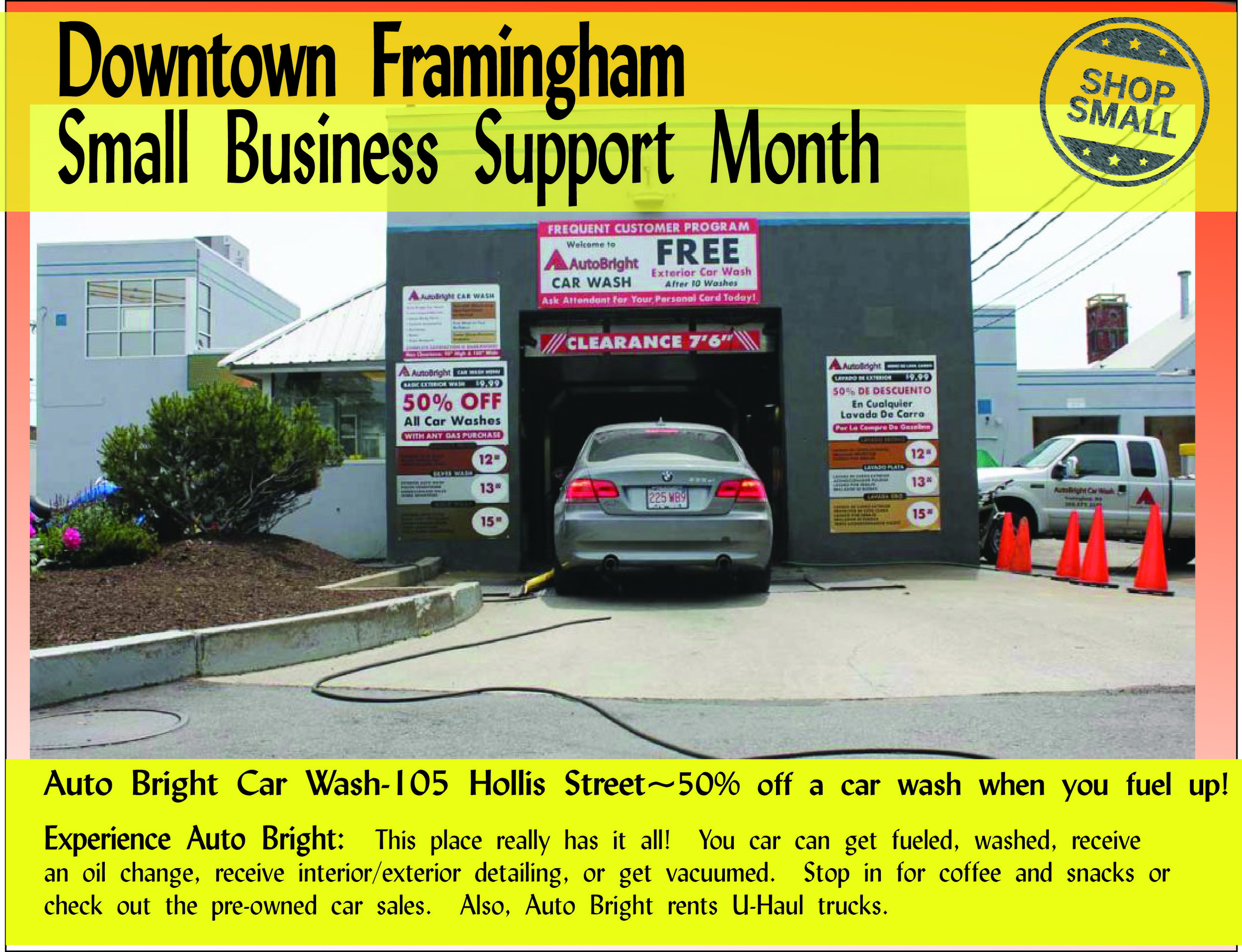 """It's Day 17 of Small Business Support Month! Reason #17:  """"STRENGTHEN YOUR LOCAL ECONOMY! Each dollar you spend at independent businesses returns 3 times more money to your local economy than one spent at a chain (almost 50 times more than buying from an online mega-retailer) — a benefit we all can bank on.""""  Today's promo is  Auto Bright Car Wash , a family-run business that has made downtown its home for decades!  Content Source:  https://www.amiba.net/resources/localhero/"""
