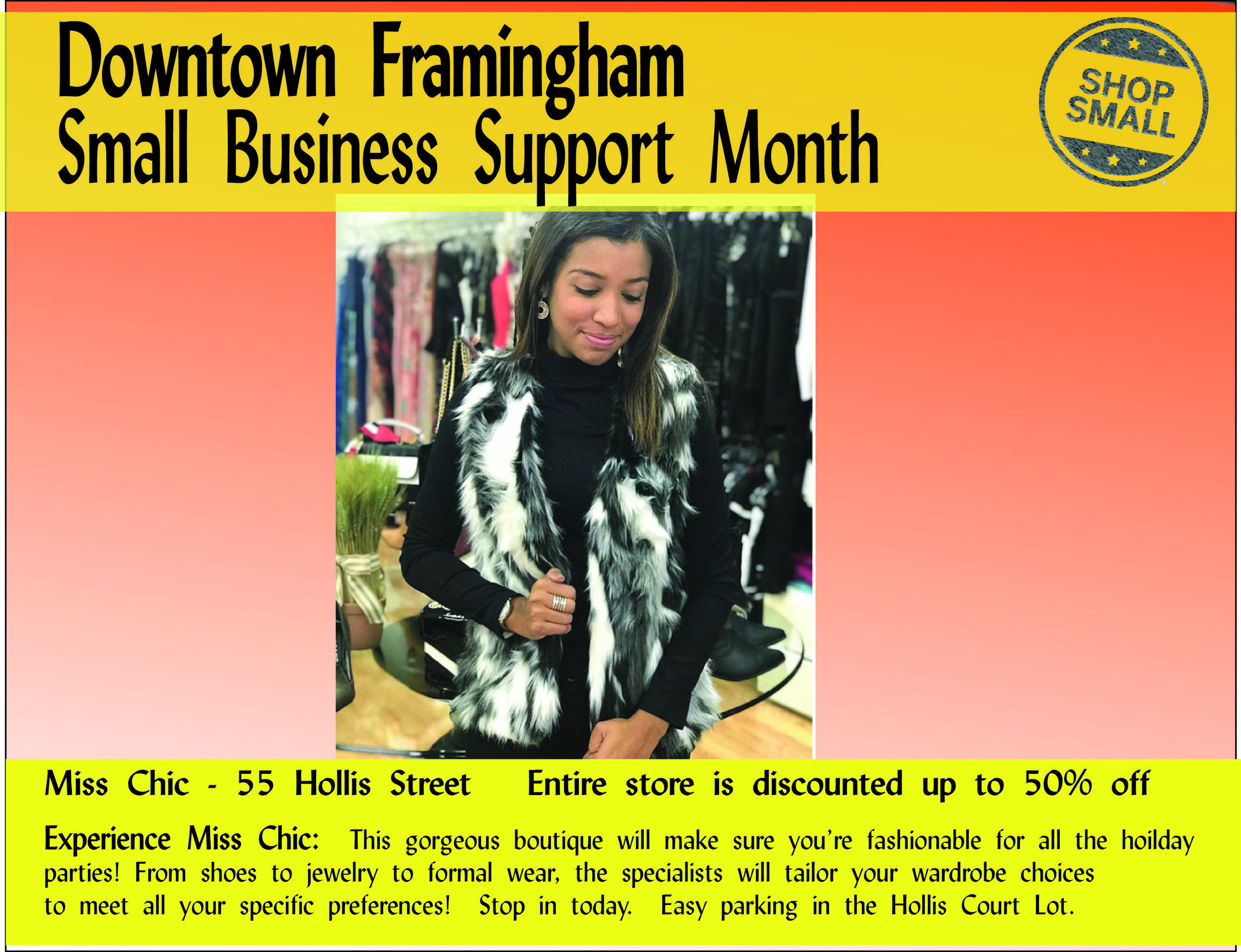 """It's Day 18 of Small Business Support Month! Reason #18 : """"Small businesses often dictate their own prices to remain competitive, which means you can often find better quality items at good costs.""""  Miss Chic  is offering discounts up to 50% off, helping to ensure you're dressed-to-impress this holiday season!"""