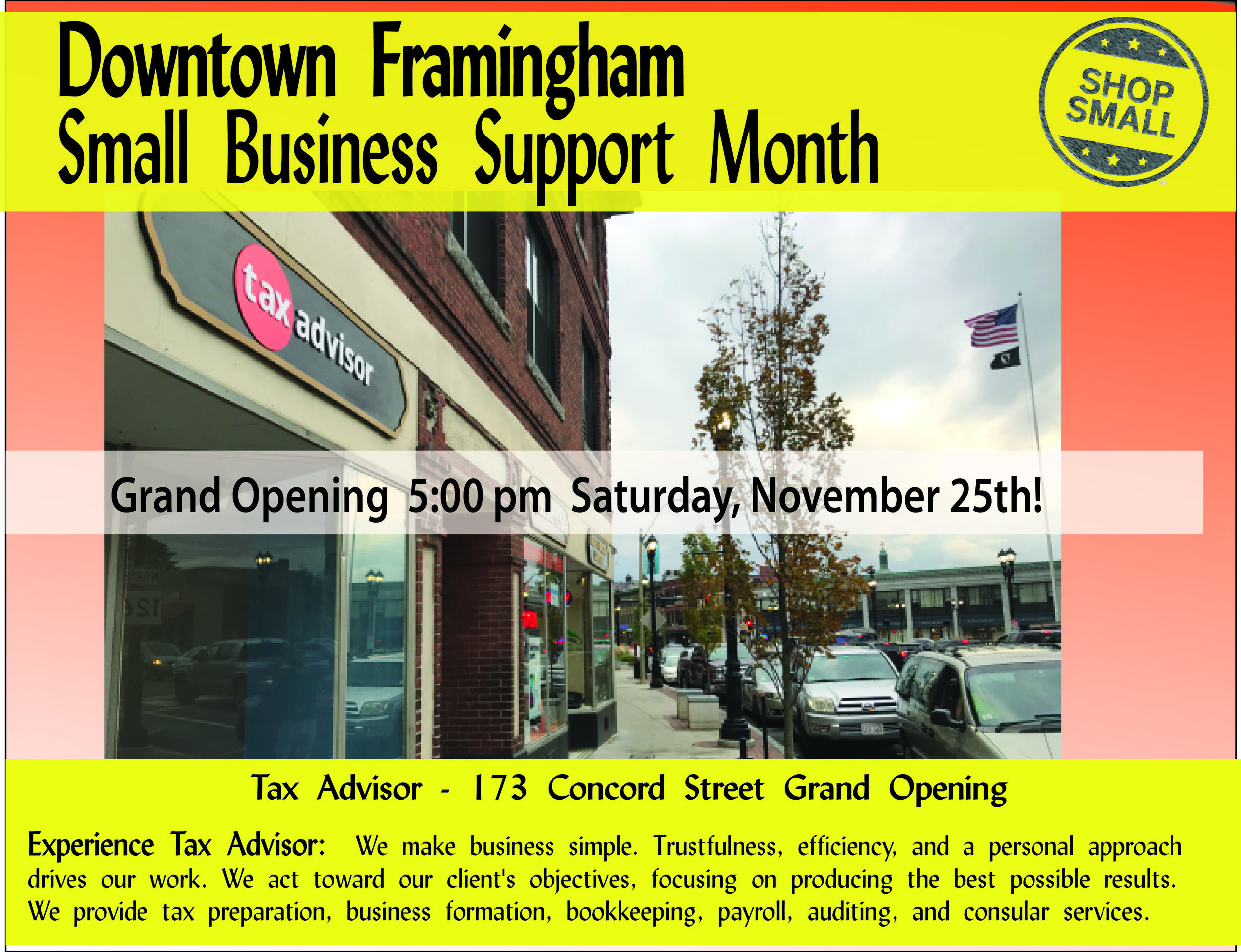 It's Day 25 of Small Business Support Month! Reason #25: WELCOME NEW BUSINESSES WITH OPEN ARMS!  When a new, small business opens, the local community cannot wait to meet the owners, who often are just as excited to display their personal touch. Join us at 5 pm on Saturday, November 25th for the GRAND OPENING OF Tax Advisor with business owner and local leader Thiago Dias!