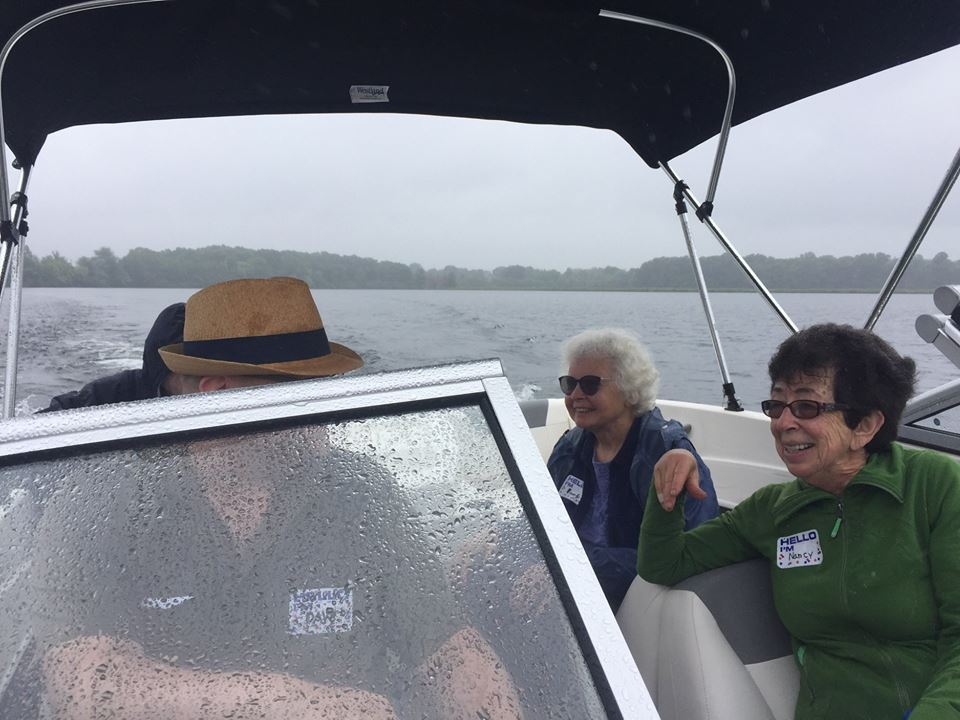 Beverly and Nancy reveled in their Farm Pond Boat tour, courtesy of Skipper Dave Anderson