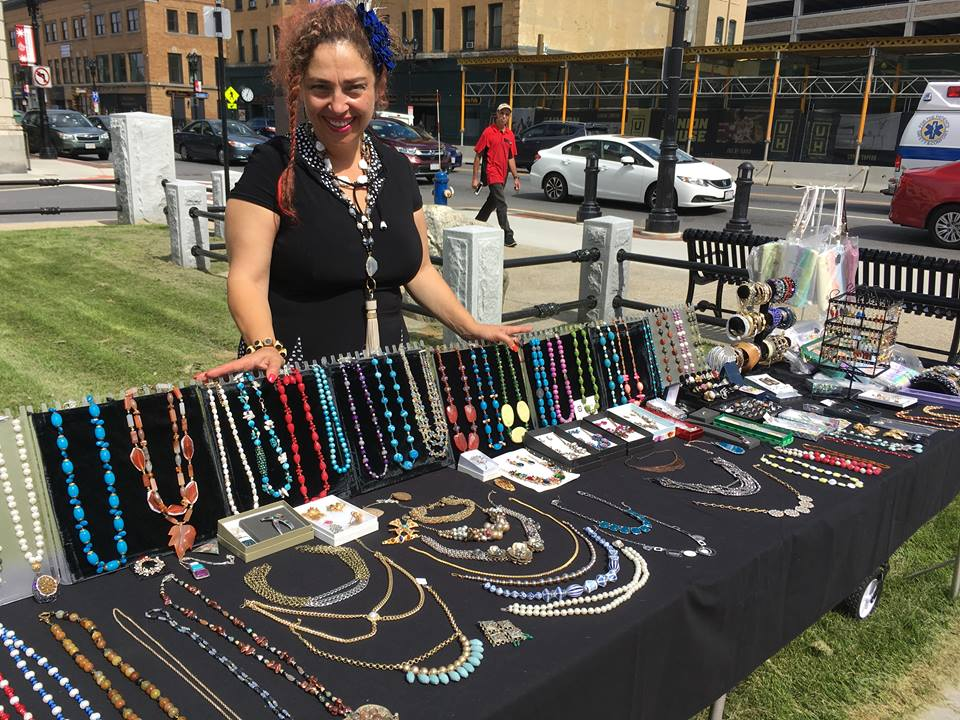 Jewelinga Designs - Inga Puzikov is excited to display her hand-crafted accessories! Inga's products include handmade jewelry out of semi-precious stones and sterling silver. She also has great accessories, including hats, purses and wallets. Inga is a major DFI supporter and frequent market participant!Pairs well with: Chat Room