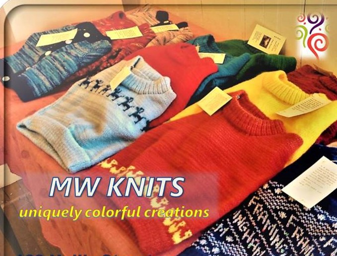 MW KNITS - Two Framingham-themed hand-knit sweaters by Amy Weader, Board Director of Downtown Framingham, Inc..Total value of $90.00