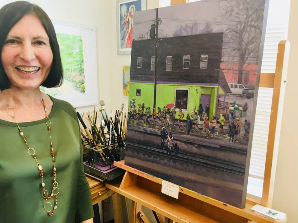 """2018 Boston Marathon Print - Take home an 8"""" x 10"""" print of this amazing masterpiece by Kristin Conant. You will also be treated to a personal tour of Howard Street Studios!"""