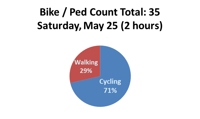 I observed 10 walkers and 25 cyclists. Of the walkers, six appeared male and four appeared female. Five walkers appeared Latinx, two appeared black and three appeared white.