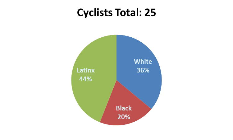 When observing race, five appeared black, nine appeared white, and eleven appeared Latinx.
