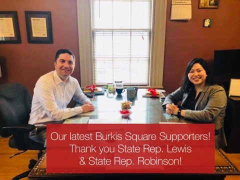 Burkis Square Supporters State Rep. Lewis (left) and State Rep. Robinson (right)