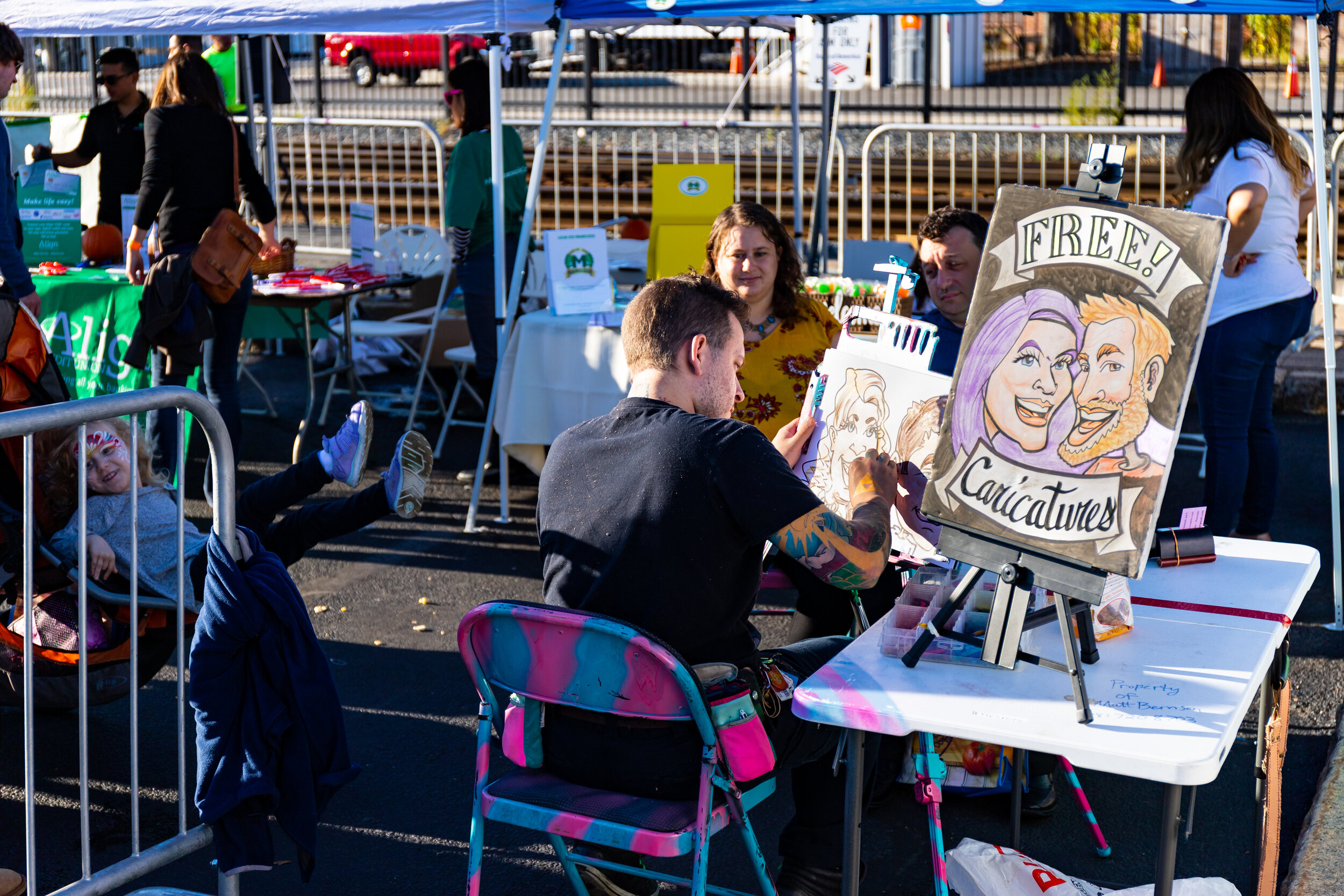Caricature Time with Matt Berson at intersection of routes 126 and 135. Photo credit Itala Keller.