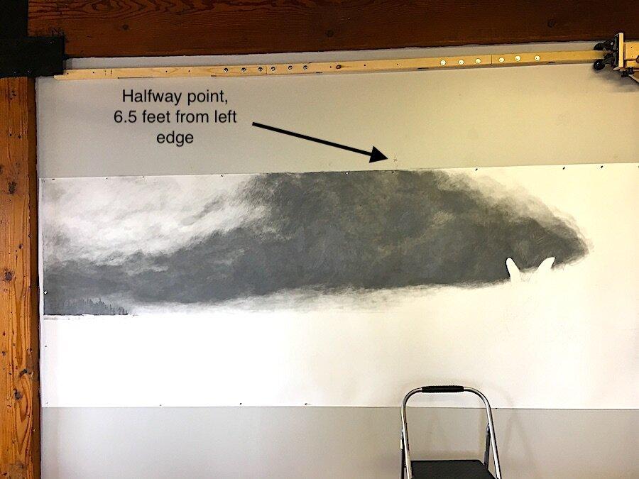 Lake Drawing WIP, Day Nine   Copyright Terri Wentzka 2019, all rights reserved. Graphite on paper. All photos Terri Wentzka.