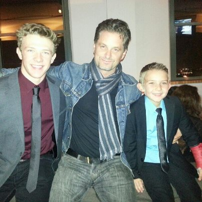 Student, Kevin Csolak with Shea Whigham and Brandon Zumsteg, in Manhattan at the wrap party for Season 3 of HBO's Boardwalk Empire. Kevin played Willie Thompson, Eli Thompson's (Shea Whigham) oldest child and Brandon played the youngest child in the family, Brian Thompson.