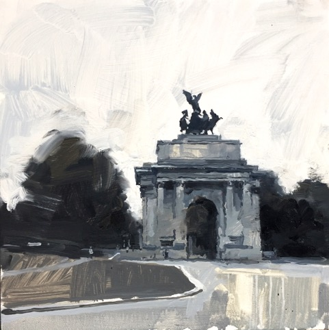James H D 3. Wellington Arch in greys, oil on  gesso on board 30x30cm.jpeg