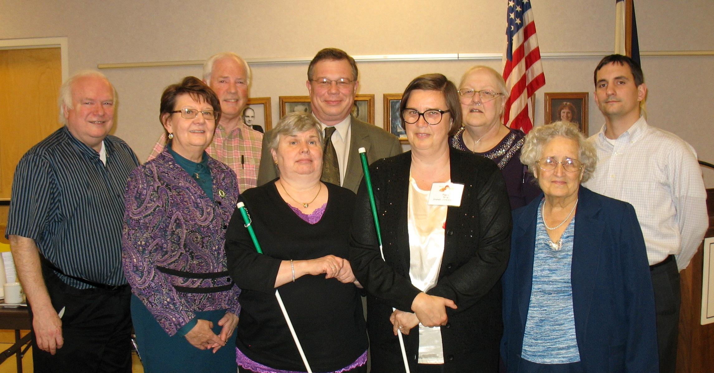 Friends Board from 2011 - Back row: David Hammel, Norman Hall, John Billingsley, Louise Duvall, Korey Keninger; Front row: Marilyn Garvey, JoAnn Slayton, Peggy Chong, and Pat Smith
