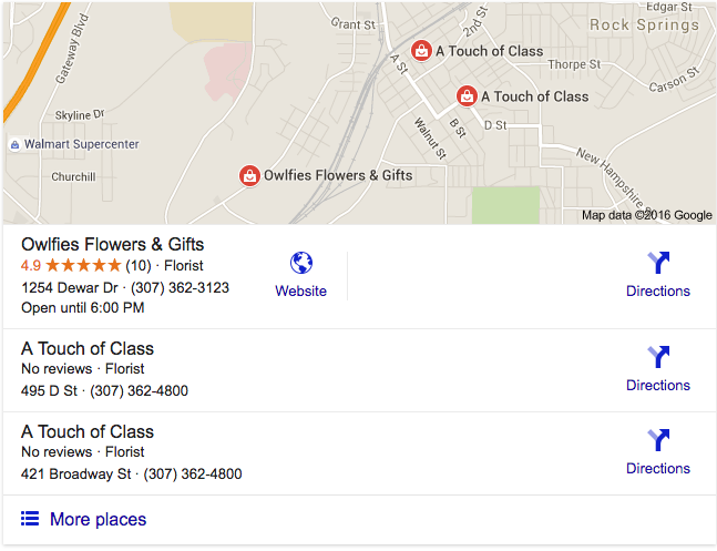 Google Local Stack Search Engine Results for Owlfies Flowers and Gifts