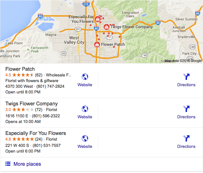 Google Local Stack Search Engine Results for Flower Patch