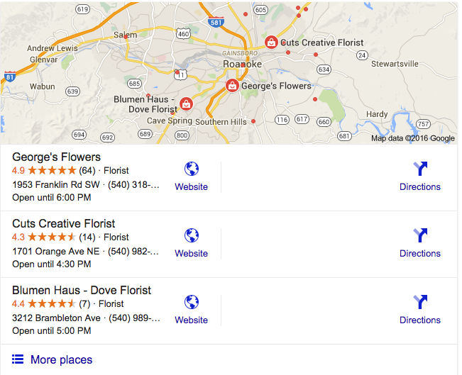 Google Local Stack Search Engine Results for George's Flowers