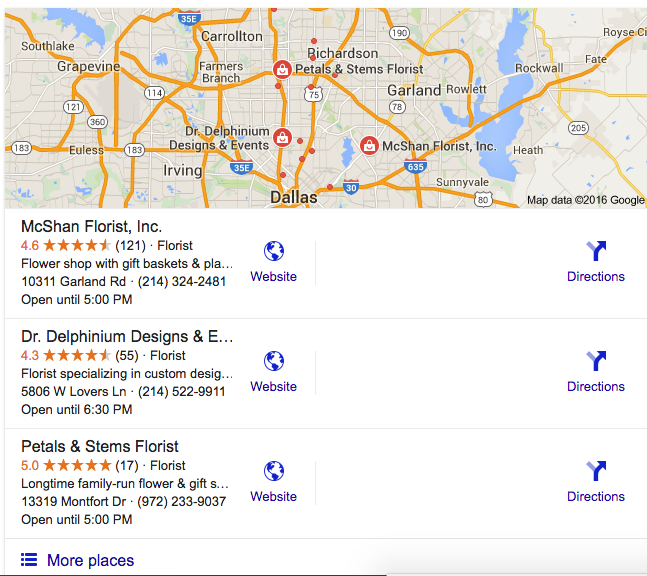 Google Local Stack Search Engine Results for McShan Florist