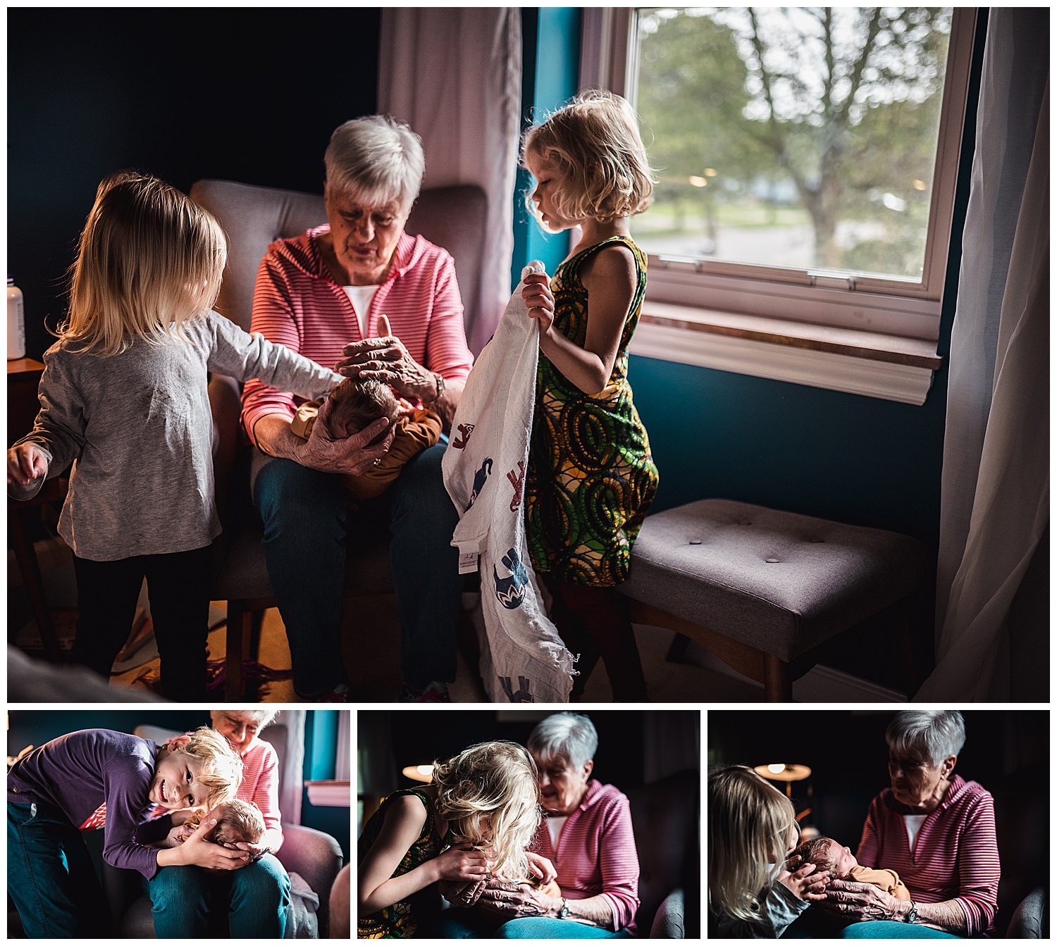 great grandma holding gwen while each sibling gives her some love