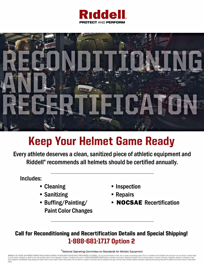 Click on the image above for a print-friendly PDF on helmet reconditioning and recertification from Riddell.