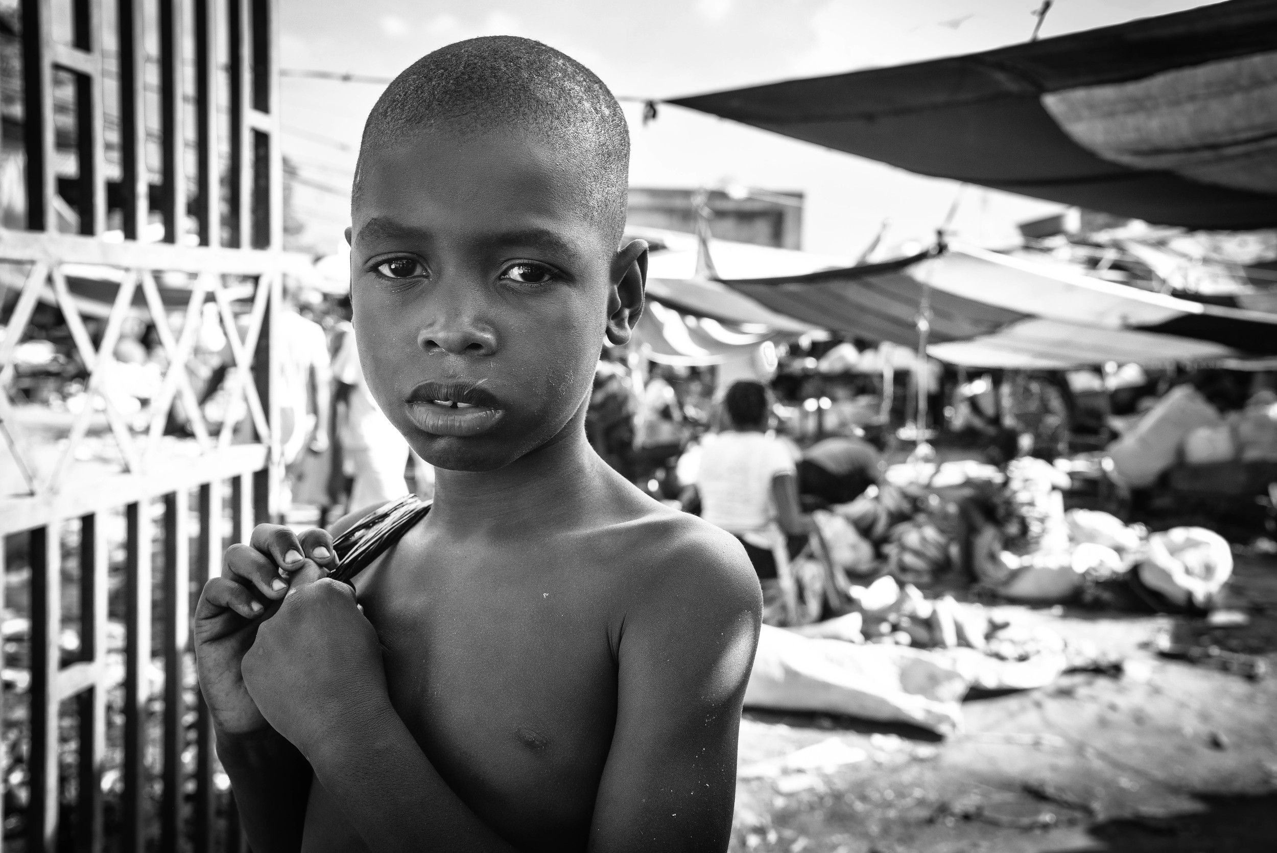 A village boy in the Ouanaminthe town market.
