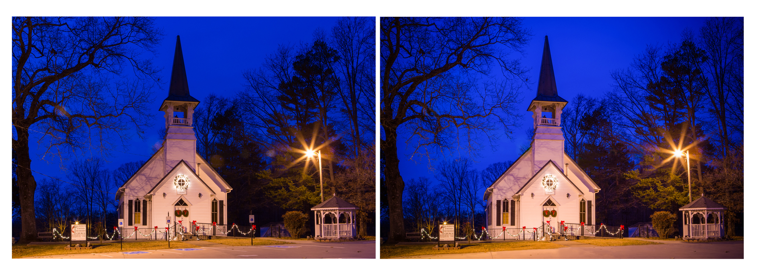 People are not the only ones where retouching can help. Recently, I was commissioned to photograph Mt. Hermon United Methodist Church during the Christmas season and at night. The power lines and handicap parking signs were a distraction that took away from an image of a lovely old country church and were removed via Photoshop.