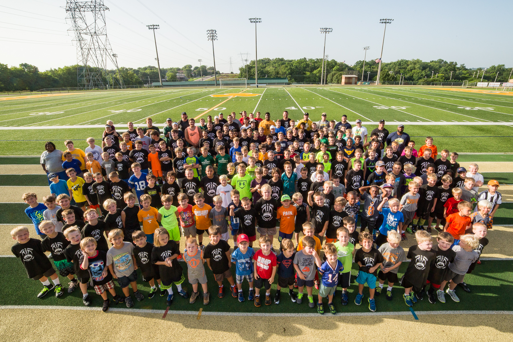 A group shot of the Smith & Smith Football Camp