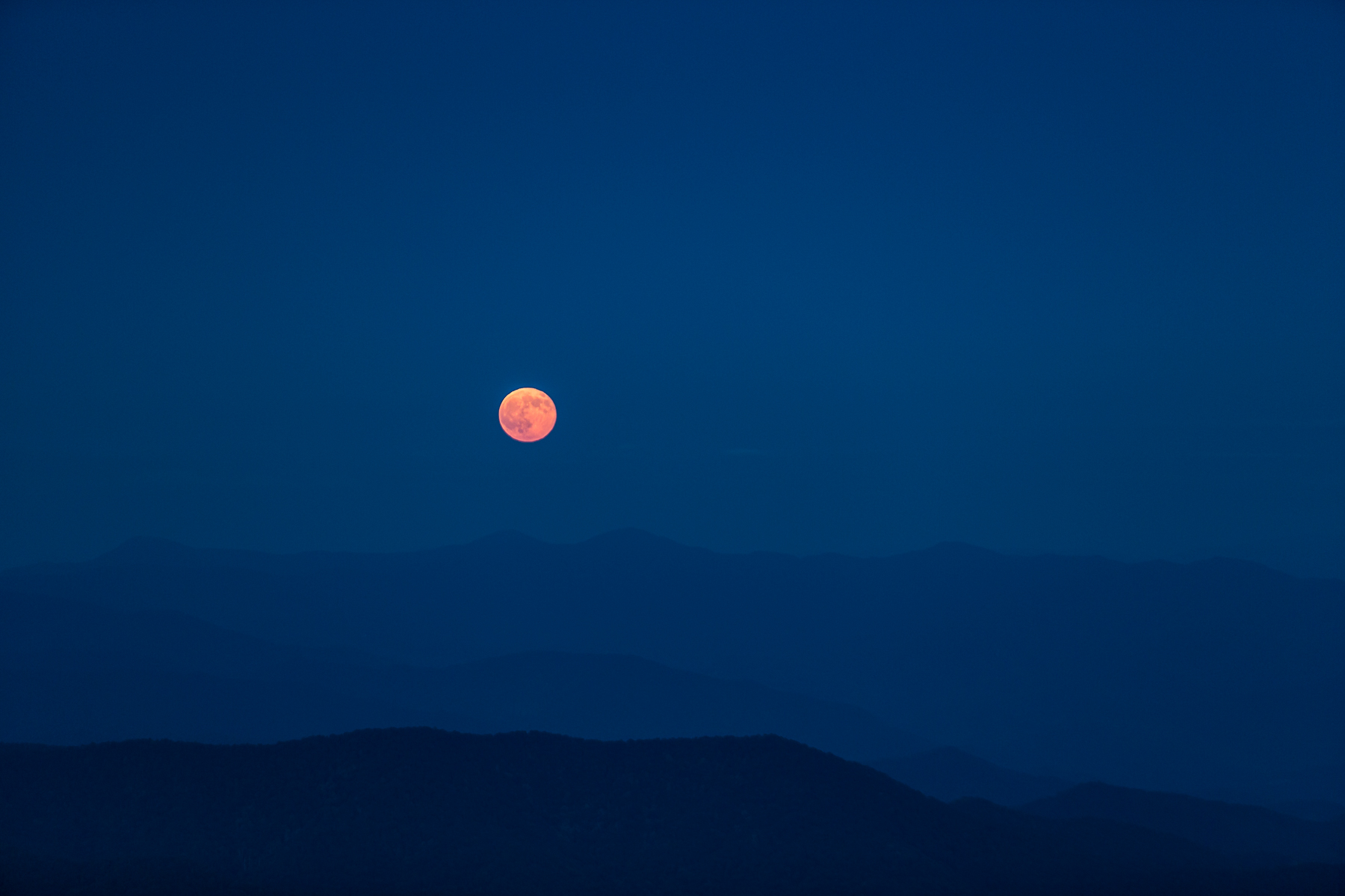 Moonrise over the Great Smoky Mountains, looking towards North Carolina.