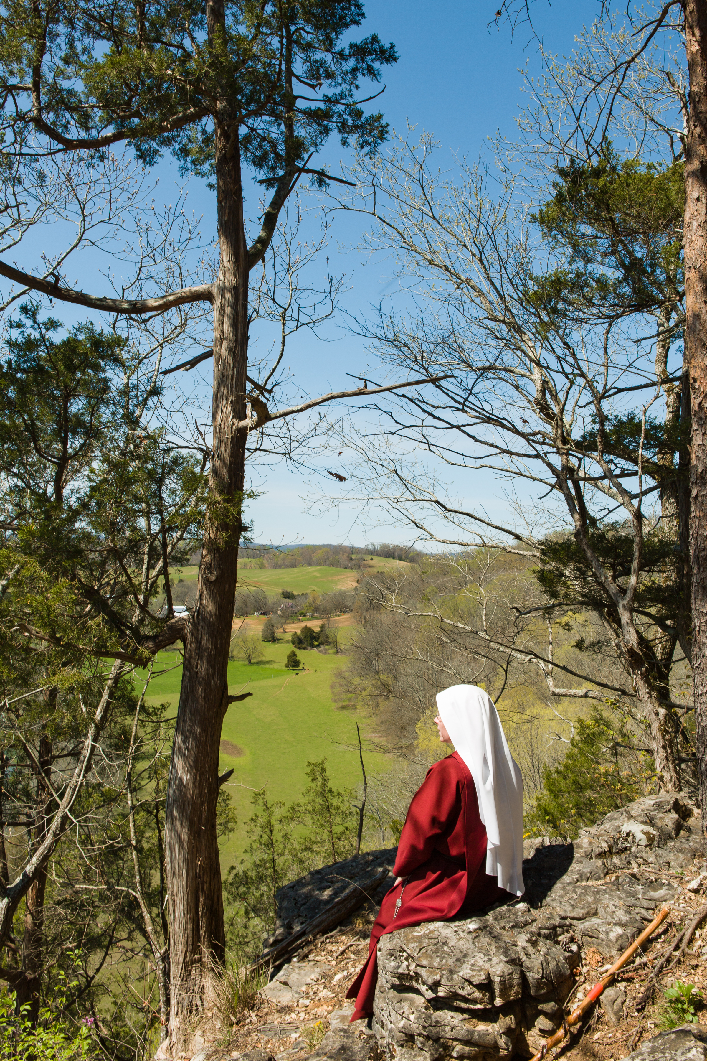 One of the sisters looking over the valley by the river.